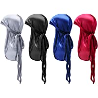 YanYoung Silk Durag Caps, 4 Pack Unisex Satin Durags Long Tail Wide Straps Headwraps for Men & Women Pirate Caps Head…