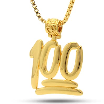 Amazon 14K Gold 100 Points Emoji Necklace Jewelry