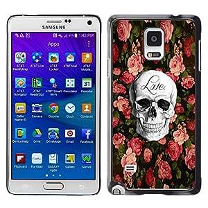 Caucho caso de Shell duro de la cubierta de accesorios de protección BY RAYDREAMMM - Samsung Galaxy Note 4 SM-N910 - Love Rock Metal Rose Halloween