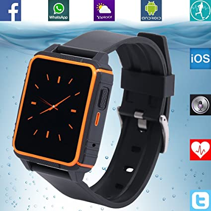 Amazon.com: Banaus B2 IP68 Waterproof Sport SmartWatch Heart Rate Monitor Bluetooth 4.0 Nano-SIM for Samsung S4/S5/S6/S7/Note3/Note4/Note5/Note6 HTC Sony LG ...