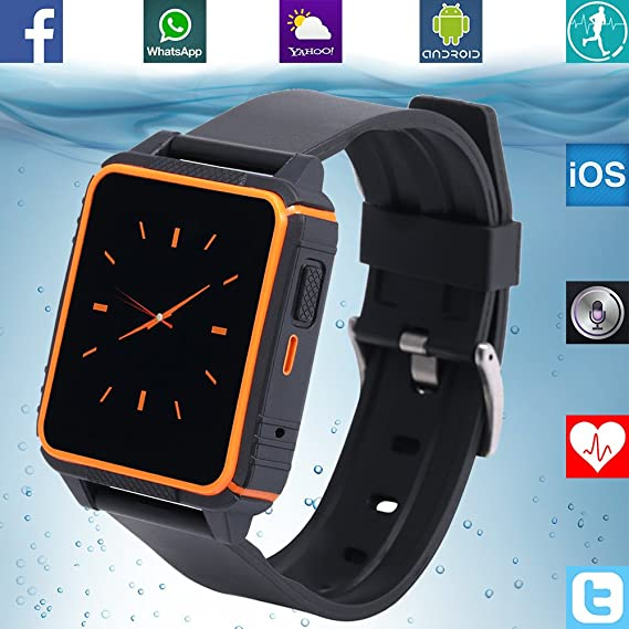 Banaus B2 IP68 Waterproof Sport SmartWatch Heart Rate Monitor Bluetooth 4.0 Nano-SIM for Samsung