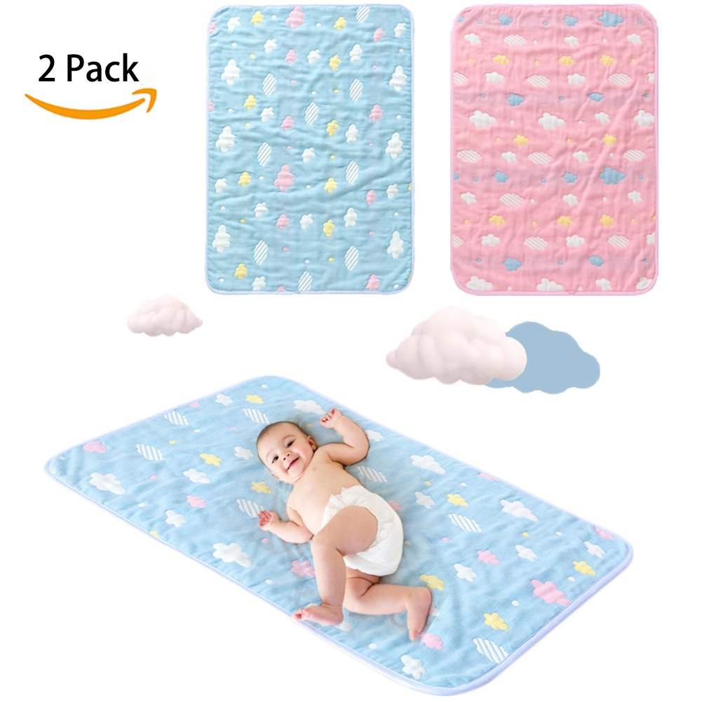 Durable Reusable Baby Crib Incontinence Mattress Pad 4 Protective Layers Ultra Absorb Organic Cotton Blend Bed Protector, Machine Washable, Adults,Toddlers, Dogs (Blue+Pink, 19'' X 27'',2 Pack)