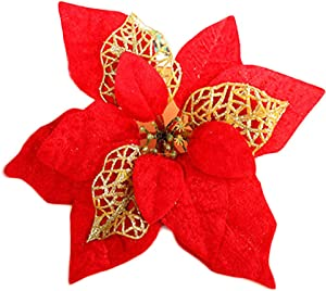 COOLJOY 24 PCS Glitter Poinsettia Christmas Tree Ornaments Flowers Xmas Tree Wreaths Decorations Decor (Red)