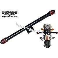 SupremeChoice Bullet Bike Leg Guard A1 Quality Single Saftey Leg Crash Bar Round Rod Black End 3 Red Line for Royal Enfield Bullet Classic 350