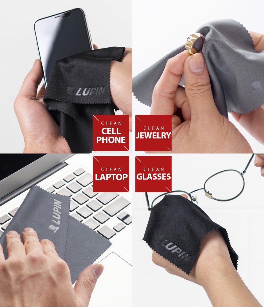 Lupin Bayeta de Limpieza de Microfibra [13 Pack] Paño de Pulido de Pelusa para Teléfono Celular, Tabletas, Computadoras Portátiles, iPad, Gafas, ...