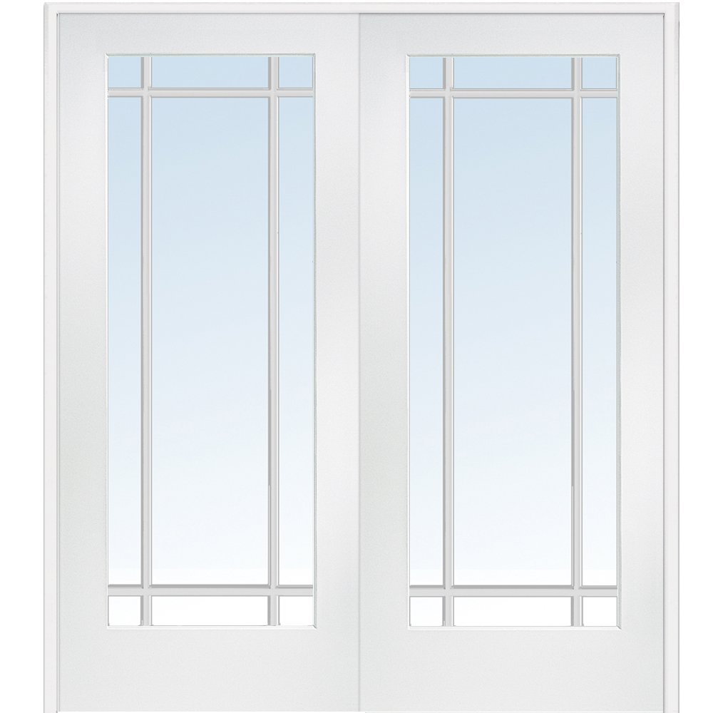 National Door Company Z009323BA Primed MDF 9 Lite Clear Glass, Prehung Interior Double Door, 60'' x 80''