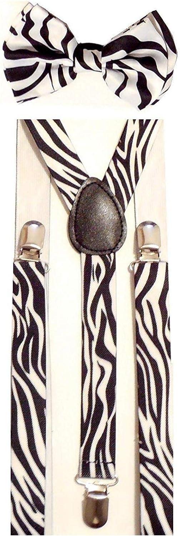 TOSSPER Mens Unisex Super Zebra B//W Drucken Strapse und passender Fliege Set Einstellbare