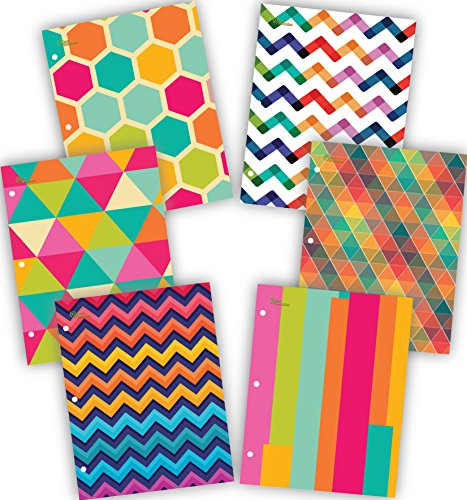 NEW GENERATION - Chevron - School Supplies 2-Pocket Folder Value Pack with Assorted Fashion Eye-Catching Designs - Durable Laminated Letter Size Set - 6 Pack School, Home, Office,Folders