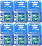 6x Oral-B Satin Floss Mint 25m (Flossing Action For A Fresh Clean Feeling)