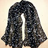 Scarves,Han Shi Stylish Musical Note Long Chiffon Scarf Soft Shawl Muffler Stole for Women (L, Black)