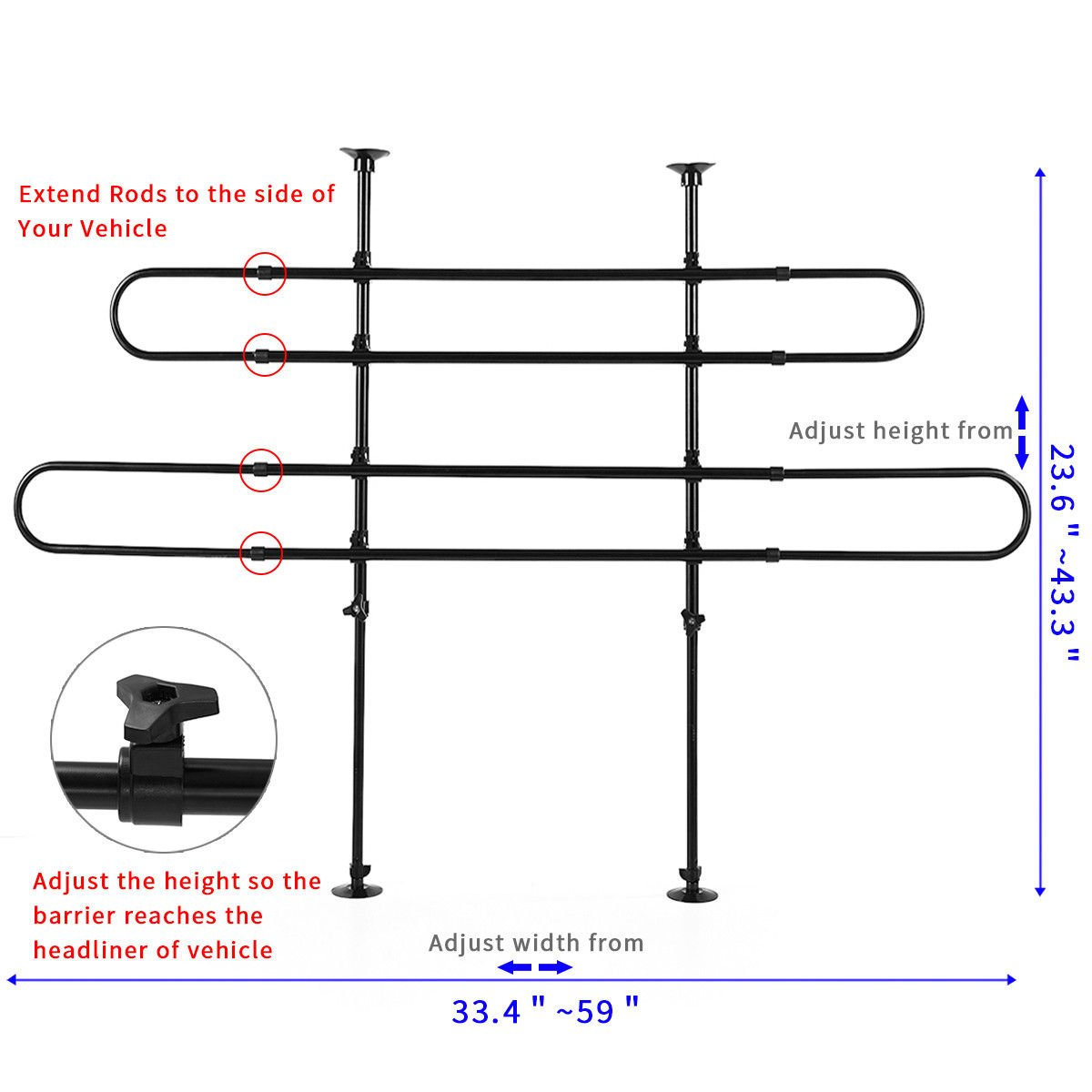 Amazon.com : JAXPETY Pet Barrier Divider Mesh Car Suv Adjustable Bar ...