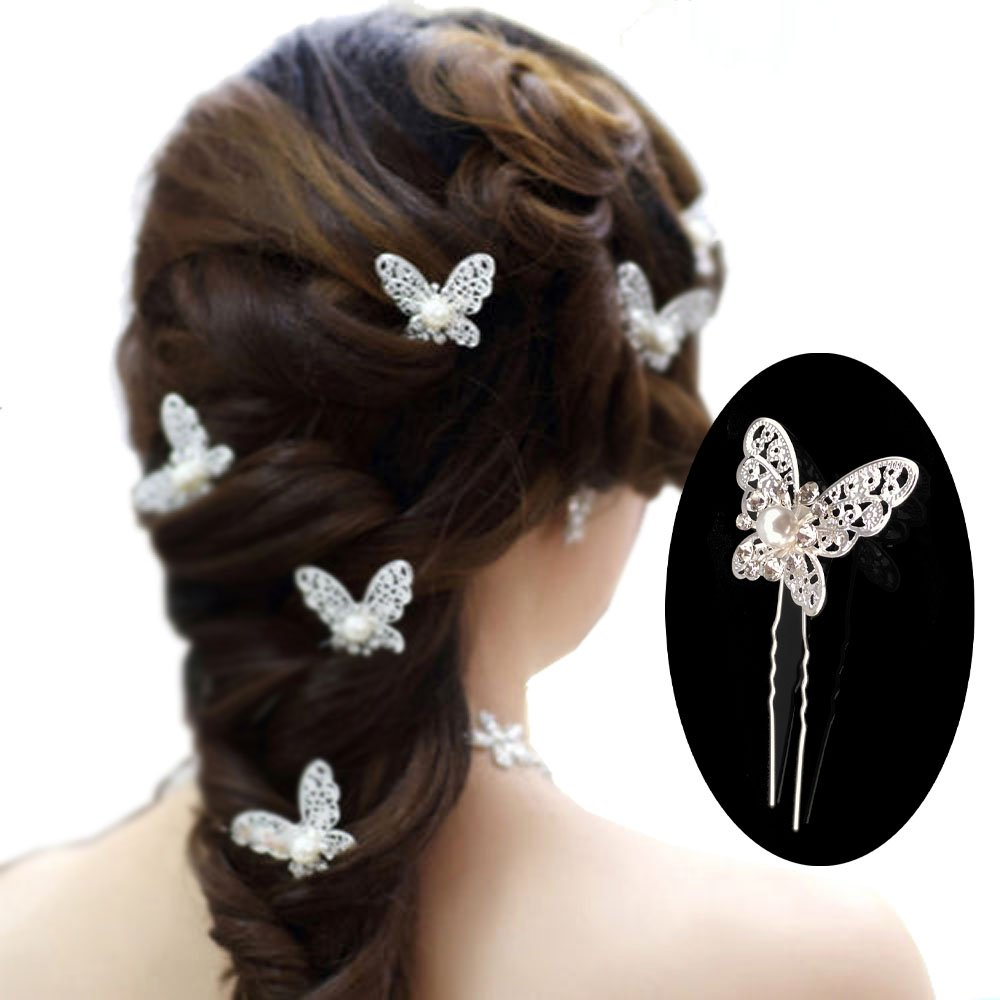 yueton Pack of 20 Butterfly Pearl Crystal Hair Pin Bride Headwear Hair Accessories (Silver) Blovess