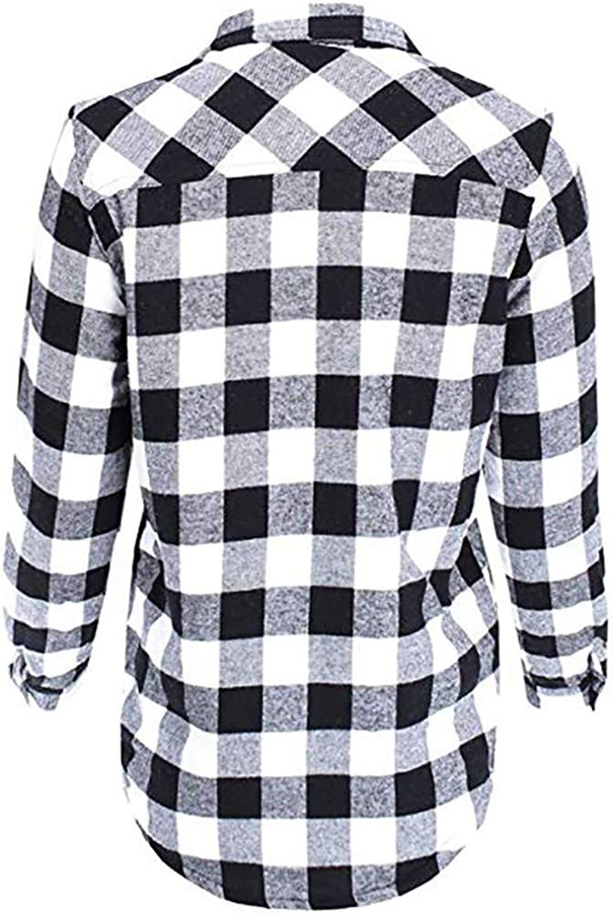 Millenniums Femme Manteau Chemisier /à Carreaux Plus Velours Chaud Chemise avec Poche Bouton Chic Sweatshirt Veste /à Manches Longues Outwear Grande Taille S~2XL