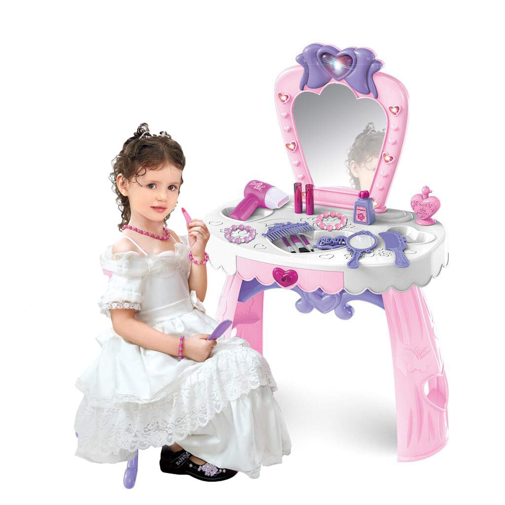 Vanity Beauty Dresser Table for Girls, 23 pcs Fashion & Makeup Accessories with Hand Mirror, Hair Dryer, Brush, Comb for Children 1-3 Years Old (Pink) by Bieay