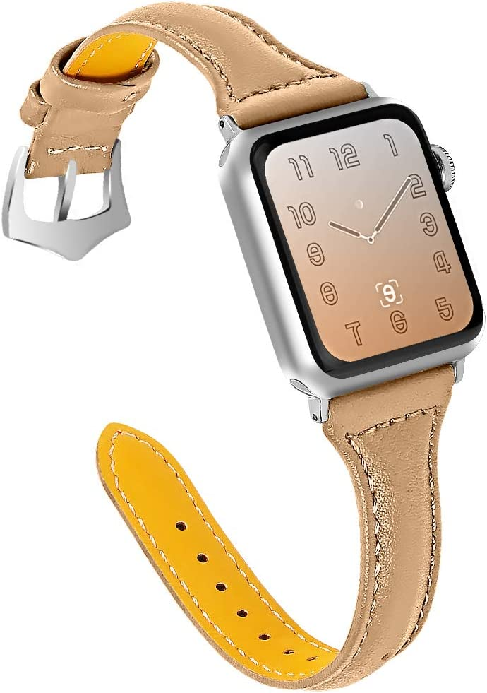 OULUCCI Compatible Apple Watch Band 42mm 44mm, Top Grain Leather Band Replacement Strap for iWatch Series 6, SE, Series 5, Series 4,Series 3,Series 2,Series 1,Sport, Edition