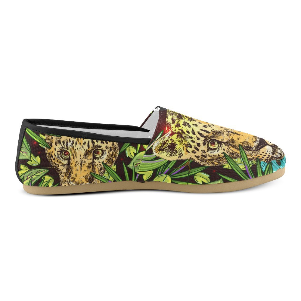 D-Story Fashion Sneakers Flats Leopard Womens Classic Slip-on Canvas Shoes Loafers