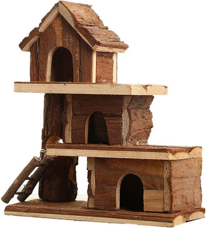Hamster House Casa de madera de tres capas hámster Pequeño Animal House for el erizo enano hámster rata del ratón Jerbo Y Otros Animal doméstico para Ratón Chinchilla Rata Jerbo Enano Hámster
