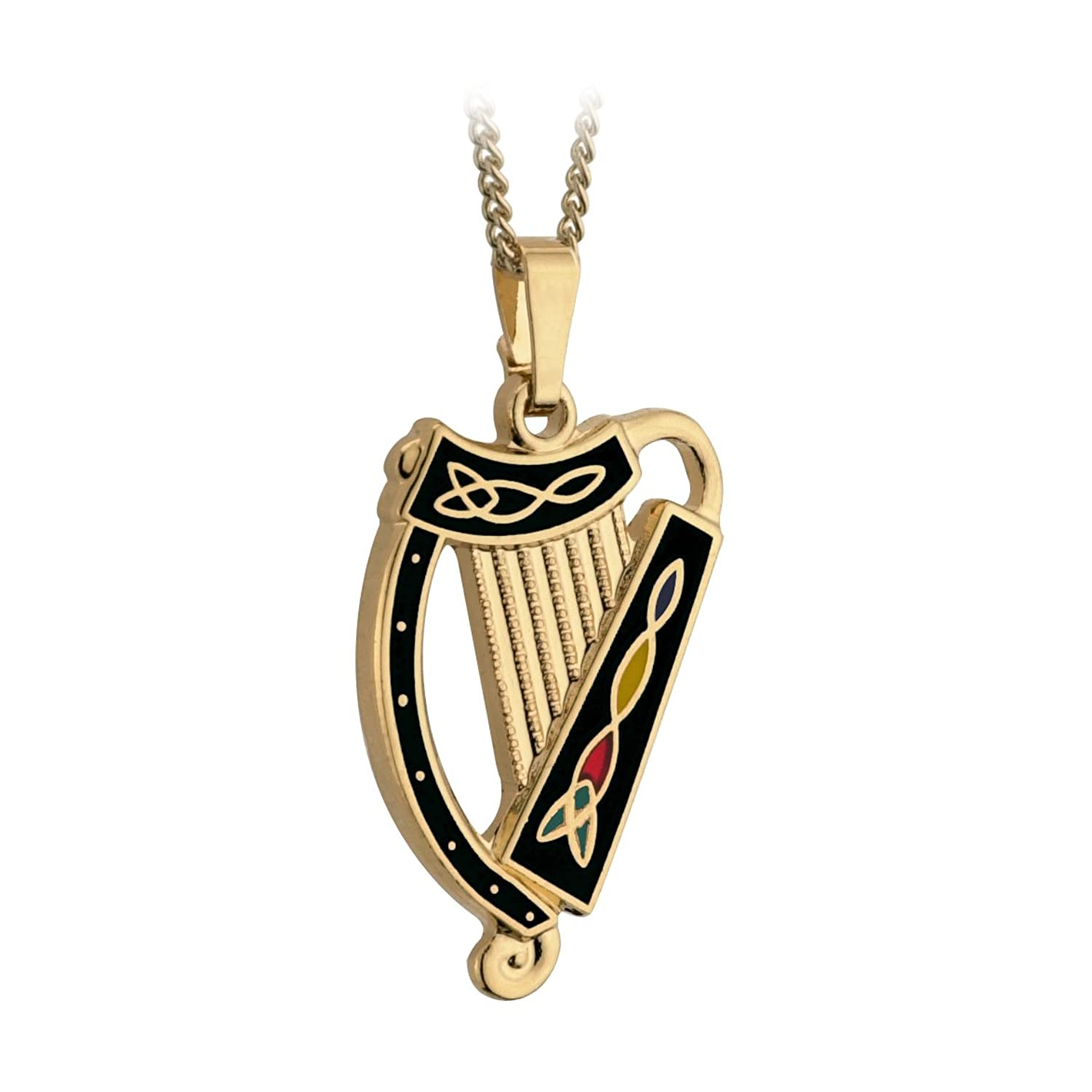 Irish Harp Pendant and Necklace Gold Plated with Black Made in Dublin, Ireland