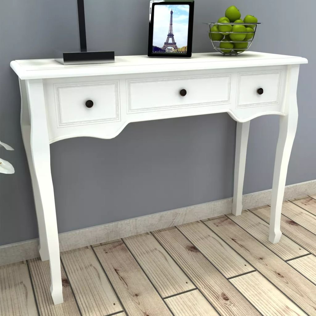 Anself Dressing Console Table 3 Drawers White