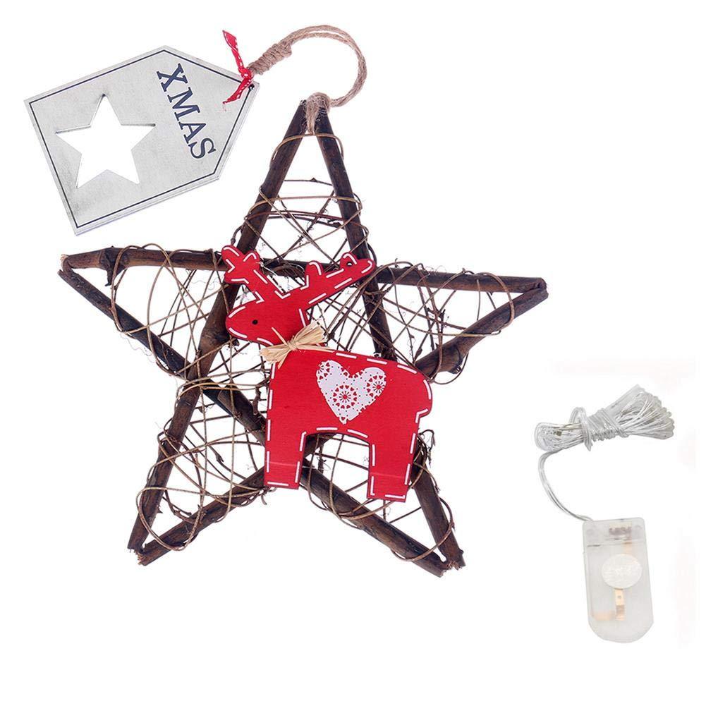 Oshide 20 Luci Led Natale Fai Da Te Rami Rattan Preparazione, Stella A Cinque Punte Con Luci Decorative Ciondolo