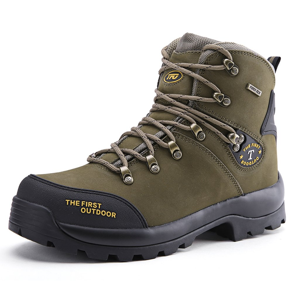 TFO Leather Waterproof Men Mid Hiking Boots Mountaineering Outdoor Shoes (US 9, Amry)