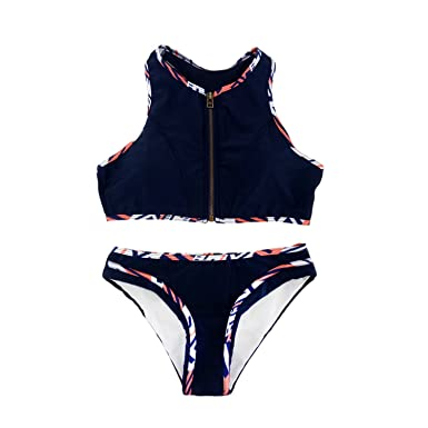 c5cdb13d7fb CHAOYIFANG Women's Sexy Color Block Active Two Pieces Bikini Sets Backless  Zip Up Swimsuit Swimwear 1