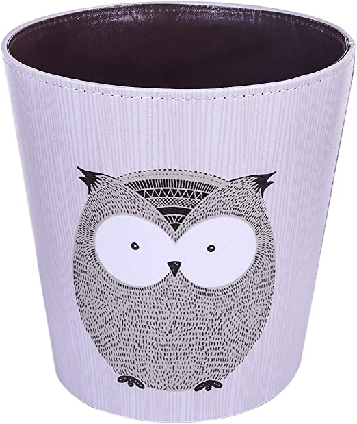 Amazon Com Ruiyif Waste Basket Deskside Decorative Farmhouse Trash Can Withoud Lid For Bathroom Kids Room Girls Bedroom Garbage Cans For Kitchen Office Recycling Bin Grey Owl Home Kitchen