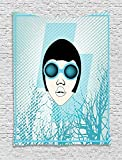 THndjsh Indie Tapestry, Retro Woman Portrait with Vintage Sunglasses Short Hair Abstract Trees, Wall Hanging for Bedroom Living Room Dorm, 60 W X 80 L Inches, Light Blue Black White