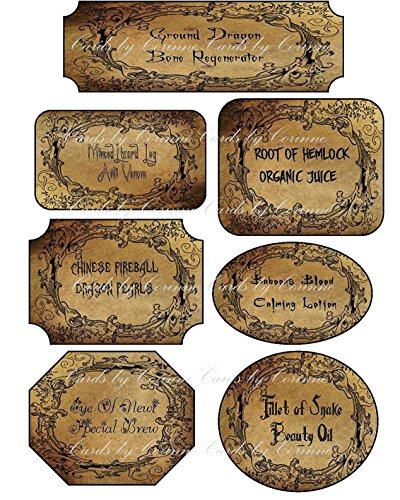 Halloween 7 assorted sizes grunge bottle labels party -