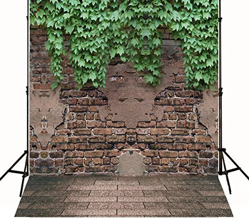 10x10 ft Gray Brick Wall Photo Backgrounds Brick Floor & Green Leaves Wrinkle free Photography Backdrops for Newborn