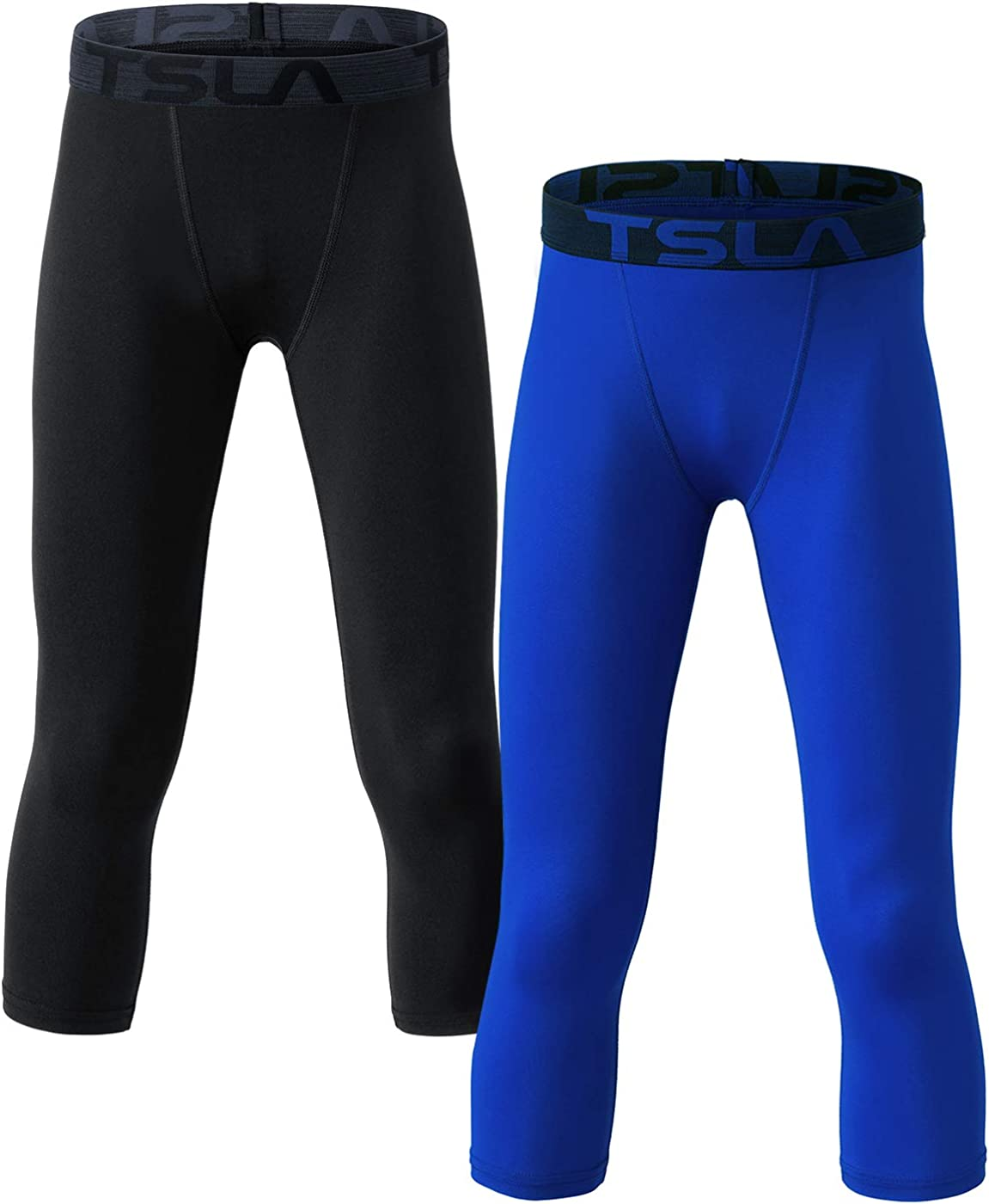 TSLA Boys Youth UPF 50+ Compression Pants Baselayer, Cool Dry Active Running Tights, Sports 4-Way Stretch Workout Leggings