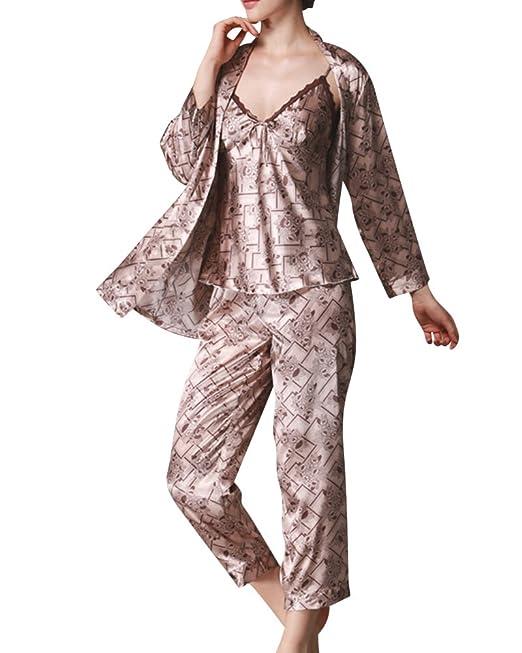 Mujer Pijamas Set Satin Camisones Pijamas Satén Manga Larga Pantalones Largos Caqui M