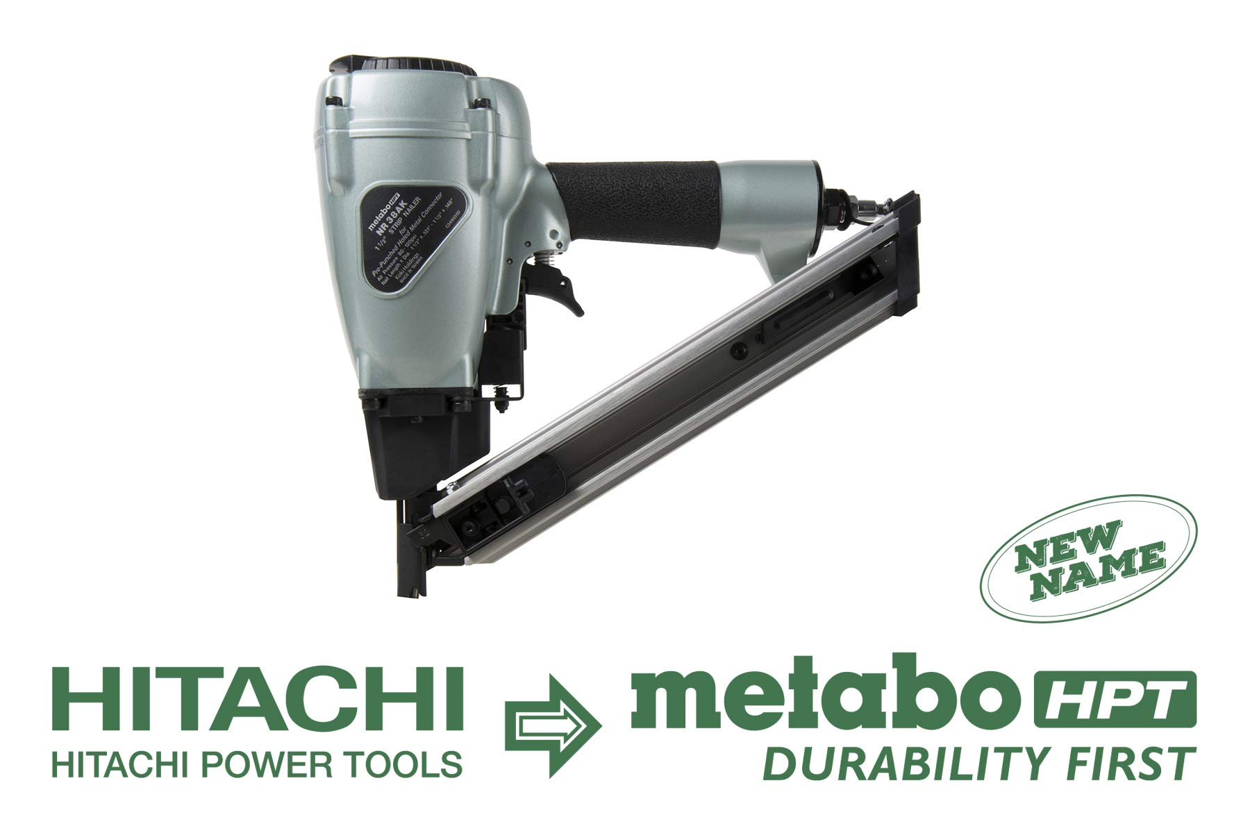 Metabo HPT NR38AK Positive Placement Metal Connector Pneumatic Nailer, Strap-Tite Fastening System, Accepts 1-1/2-Inch Nails, For Fastening Various Types of Pre-punched Hole Metal Connectors to Wood