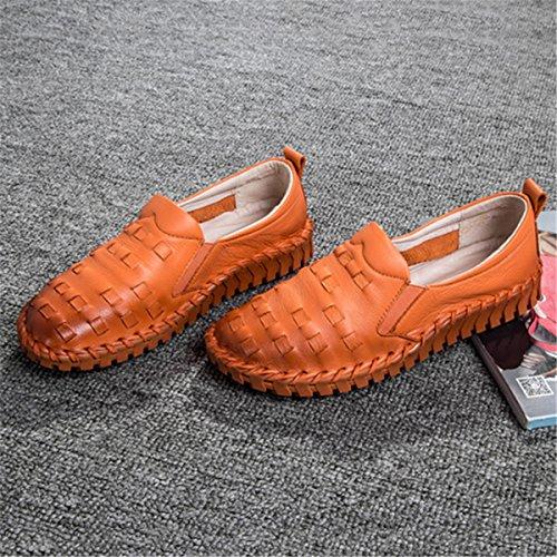 Scarpe Da Donna Moda In Pelle Socofy, Slip On Flat Casual Moda Fatta A Mano Cuciture Bocca Superficiale Rotonda Donne Incinte Fannullone Arancione