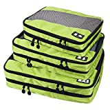 BAGSMART Travel Packing Cube (Small-Large 3 Piece) for Carry-on Travel Accessories, Suitcase and Backpacking (Double Compartment, Green)