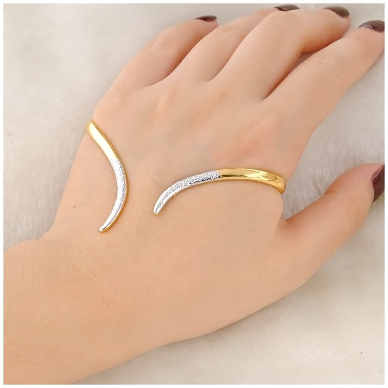 Amazon.com: Mytys 2 Tone Palm Cuff Full Hand Bracelet Gold Plated ...