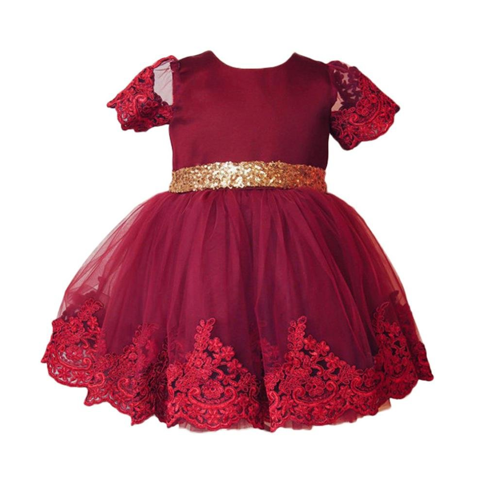 SHOBDW Girls Dresses, Baby Fashion Lace Princess Bridesmaid Pageant Tutu Tulle Gown Party Wedding Dress Kids Clothes Gifts SHOBDW-01