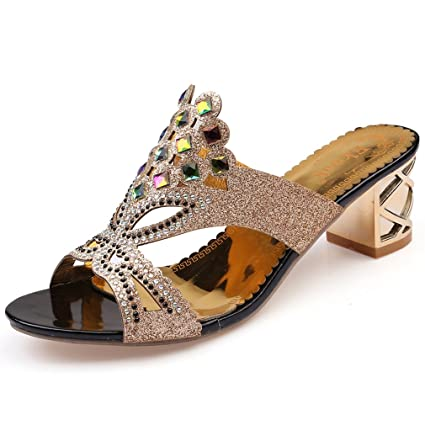 77154047515e Amazon.com  Dovaly Women Sandals Fashion Rhinestone Cut-Out Square ...
