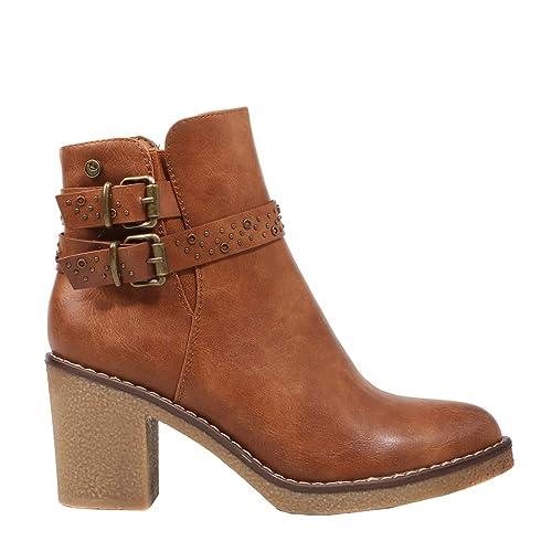 Chika 10 Marlen 03 Cuero Botines Marrones para Mujer: Amazon.es: Zapatos y complementos