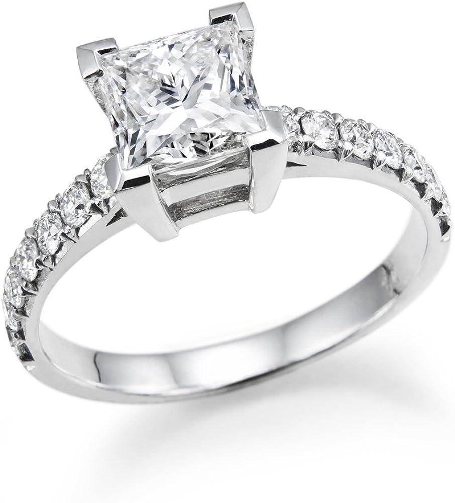 5MM Swarovski CZ Engagement ring Princess Brilliant Cut 14k White ...