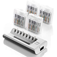 EBL Rechargeable AAA Batteries 16-Packs (ProCyco 1100mAh) with AA AAA Smart Battery Charger