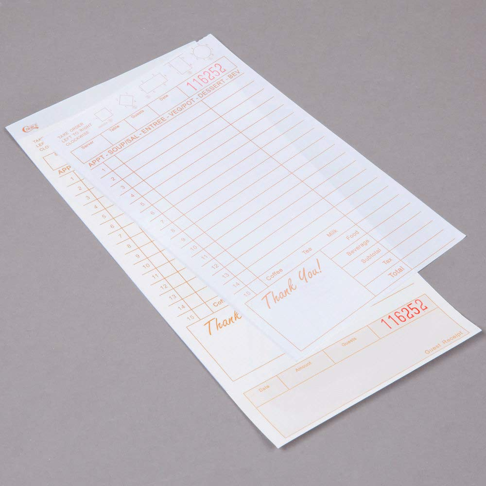 250//Pack TableTop King 2 Part Tan and White Carbonless Guest Check with Beverage Lines and Bottom Guest Receipt