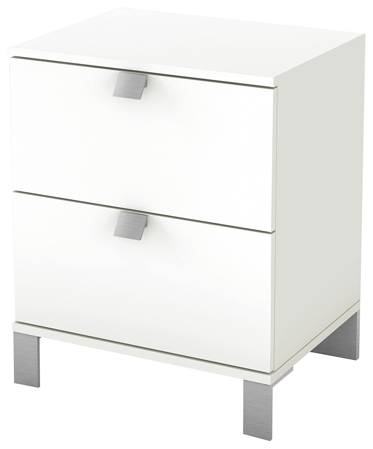 South Shore Spark Collection 2-Drawer Nightstand, Pure White with Satin Nickel Handles 3260060