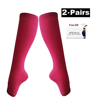 2Pair Open Toe Compression Knee High Anti-Fatigue Sock Calf Support Stocking