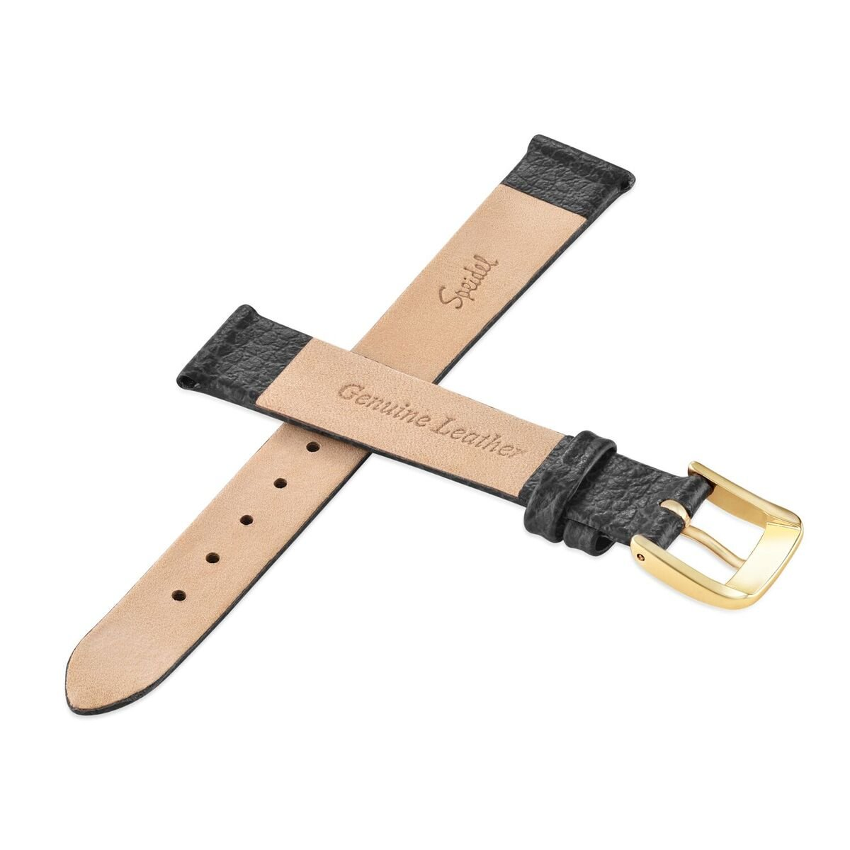 Speidel Genuine Leather Watch Band 12mm Black Fine Cowhide Replacement Strap, Stainless Steel Metal Buckle Clasp, Watchband Fits Most Watch Brands by Speidel (Image #3)