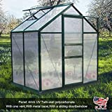Soddyenergy 6X4FT Greenhouse Aluminum Frame Walk-in Outdoor Plant Garden Polycarbonate