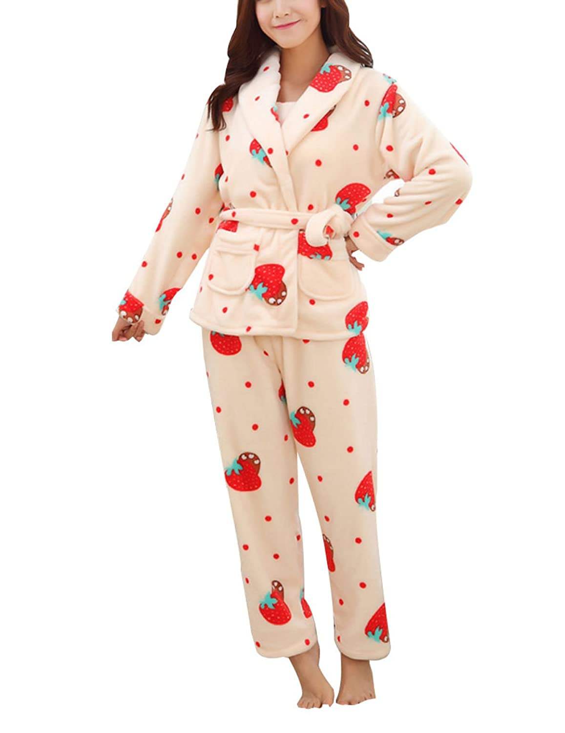 QPALZM, Autumn And Winter Flannel Printed Three-piece Warm Pajamas