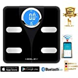 HESLEY Smart Digital Wireless Bluetooth Body Composition Analyzer with App AiFIT and Ito Conductive Glass - (Round Dial)