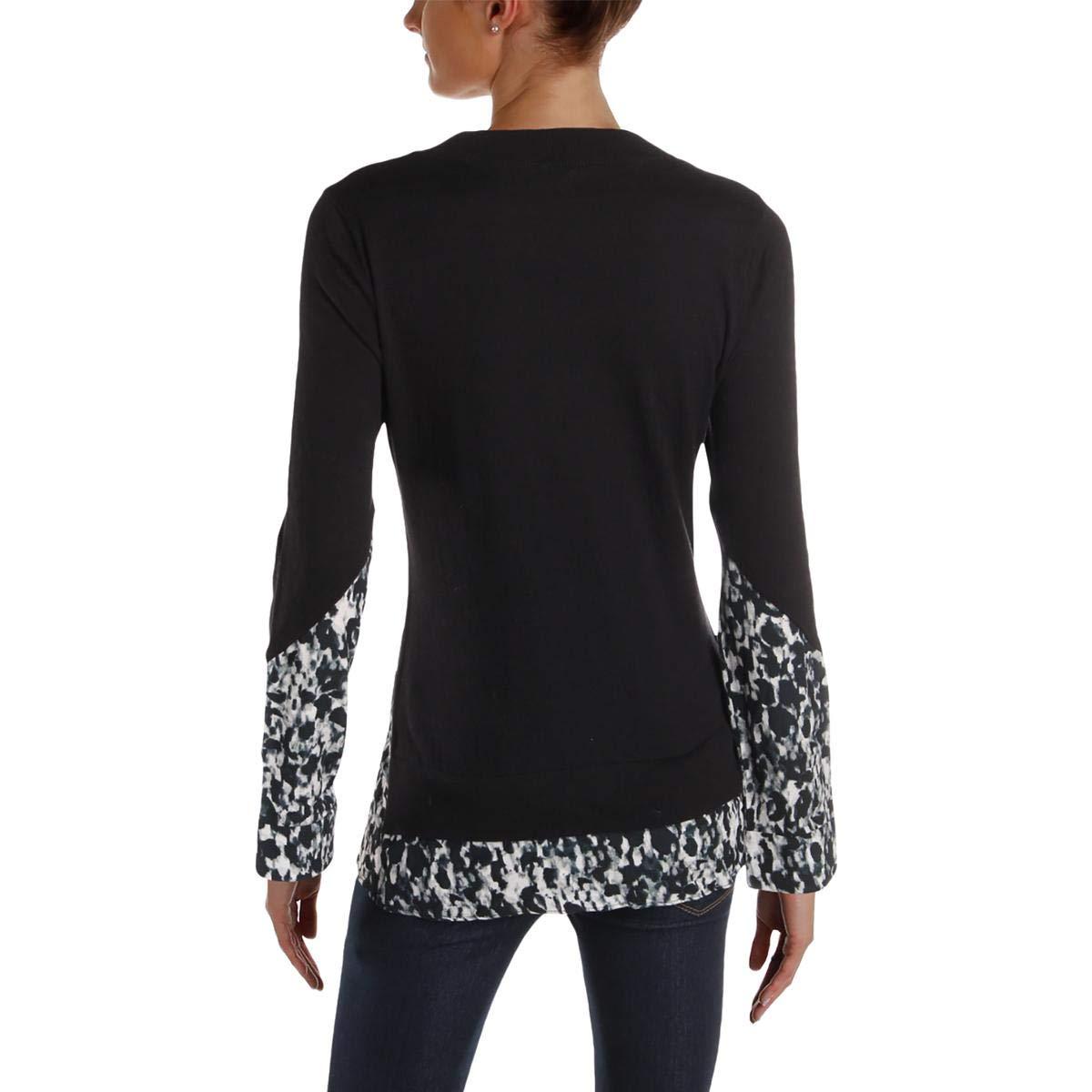 Yigal x AQUA Womens Knit Printed Pullover Sweater