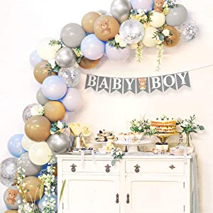 Sweet Baby Co. Teddy Bear Baby Shower Decorations for Boy with Balloon Garland Arch Kit, Baby Boy Banner, Small Teddy Bear Theme Decor, Blue Brown Ivory Gray Silver Balloons for Backdrop Decoration